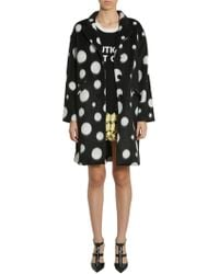 Boutique Moschino - Long Polka Dots Velour Coat - Lyst