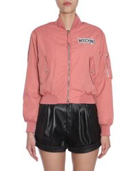 Moschino - Cropped Bomber Jacket With Back Teddy Bear Print And Pins - Lyst