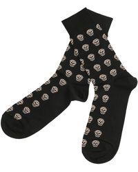 Alexander McQueen - Short Cotton Blend Skull Socks - Lyst