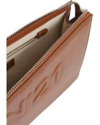 N°21 | Leather Clutch With Embossed Logo | Lyst