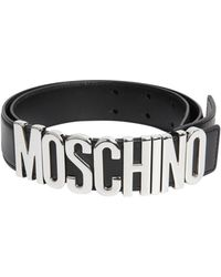 Moschino - Leather Belt With Logo Lettering - Lyst