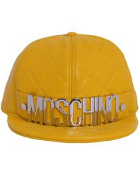 Moschino - Quilted Leather Baseball Cap With Metal Logo - Lyst
