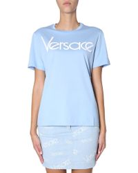 Versace - Round Collar Cotton T-shirt With Embroidered Vintage Logo - Lyst
