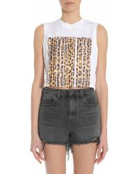 Alexander Wang - Top Cropped In Cotone Con Logo Barcode Leopardato - Lyst