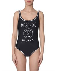 Moschino - Swimsuit With Logo Print - Lyst