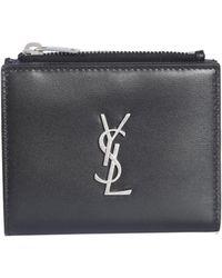 800ef5bef5c Saint Laurent Card Holder Wallet in Black for Men - Lyst