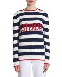 "Alberta Ferretti - Striped Sweater With ""yesterday"" Intarsia - Lyst"