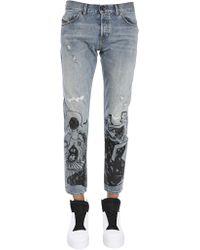 Diesel Black Gold - Slim Fit Type-2813 Denim Jeans With Graffiti Print - Lyst