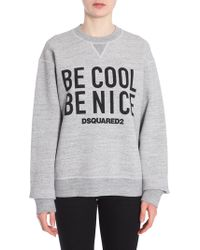 """DSquared² - FELPA """"BE COOL BE NICE"""" IN COTONE - Lyst"""