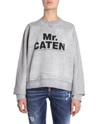 DSquared² - FELPA GIROCOLLO IN COTONE DISTRESSED CON STAMPA MR. CATEN - Lyst