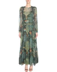 Alberta Ferretti - Long Silk Blend Dress With Lace Insert - Lyst