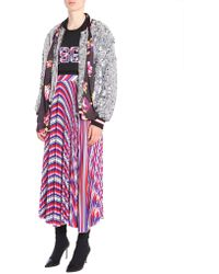 MSGM - Bomber Jacket With Maxi Sequins And Printed Foulard - Lyst