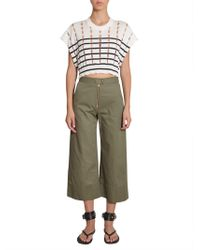 T By Alexander Wang - Striped Cotton Pullover With Slits - Lyst