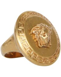 Versace - Antique Gold Metal Medusa Ring - Lyst
