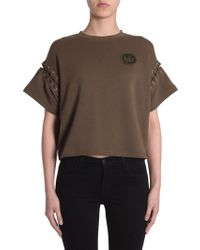 McQ - Short Sleeve Sweatshirt With Laced-up Detailing - Lyst