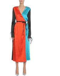 Attico - Grace Colorblock Wrap Dress - Lyst