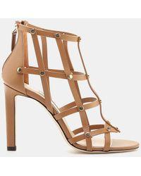25c219bd762 Lyst - Jimmy Choo Tina 85 Metallic Leather Sandals in Metallic