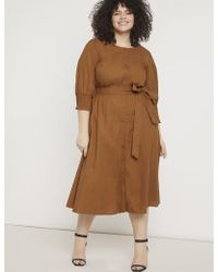 Eloquii - Puff Sleeve Dress With Smocking Detail - Lyst