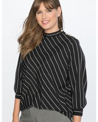 Eloquii - Stripe Top With Pearl Detail - Lyst