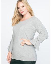 Eloquii - Ruched Tie Sleeve Sweater - Lyst