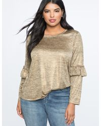 Eloquii - Foil Jersey Long Sleeve Tee With Ruffle Detail - Lyst