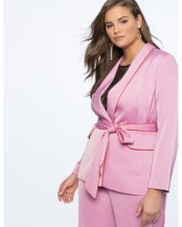 Eloquii - Piping Trimmed Blazer With Belt - Lyst