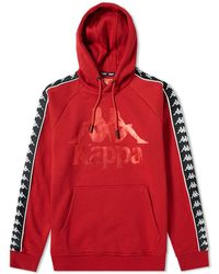 Kappa - Overhead Hoodie With Logo Taping In Red - Lyst