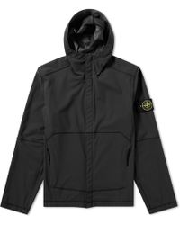 Stone Island | Light Soft Shell Si Check Grid Hooded Jacket | Lyst