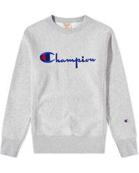 Champion - Crew Neck Script Sweatshirt - Lyst
