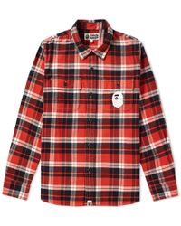 A Bathing Ape - Ats Flannel Check Shirt - Lyst