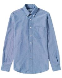 Aspesi | Button Down Magra Oxford Chambray Shirt | Lyst