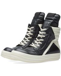 separation shoes 6589b 2446d Lyst - Rick Owens Geobasket High-top Leather Sneakers in ...