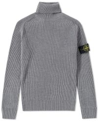 Stone Island - Ribbed Light Wool Roll Neck Knit - Lyst