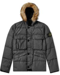 Stone Island - Lino Resinato Down Filled Hooded Jacket - Lyst