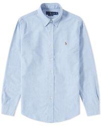 74c7190a37c Polo Ralph Lauren Slim Fit Button Down Stripe Oxford Shirt in Blue ...