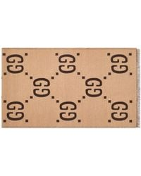 Gucci Oversized GG Wool Scarf - Brown
