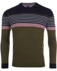 Ted Baker - Giantbu Striped Crewneck Jumper - Lyst