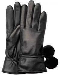 UGG - Leather Smart Glove With Poms - Lyst