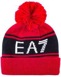 EA7 - Train Visibility Bobble Beanie Hat - Lyst b905b714bf37