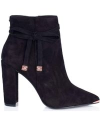 Ted Baker - Qatena Suede Heeled Ankle Boots - Lyst