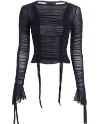 Kendall + Kylie - Ruched Mesh Top In Black - Lyst