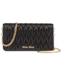Miu Miu Matelassé Leather Mini Bag - Black