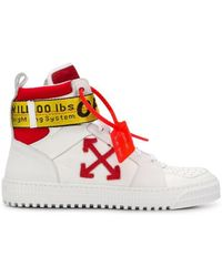 Off-White c/o Virgil Abloh - Red And White Hi Top Belted Sneakers - Lyst