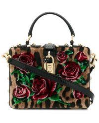 57d72f1f3e8 Rose Embellished Top Handle Bag. $6,036. Harrods · Dolce & Gabbana - Rose  Box Tote - Lyst