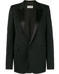 6c3daf0c9edf6 Helmut Lang Collarless Fine Wool Smoking Jacket in Black - Lyst