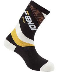 Fendi - Logo-intarsia Stretch Cotton-blend Socks - Lyst