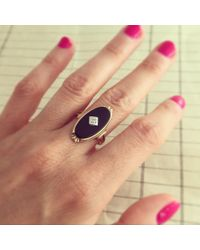 Erica Weiner - Deco Onyx And Diamond Cocktail Ring - Lyst