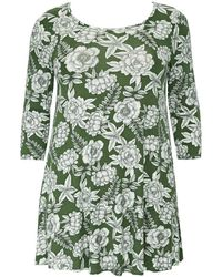 Evans - Khaki Etched Floral Print Swing Tunic - Lyst