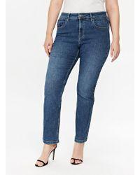 Evans - Midwash Straight Leg Jeans - Lyst