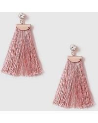 Evans - Rose Gold Pink Tassel Earrings - Lyst